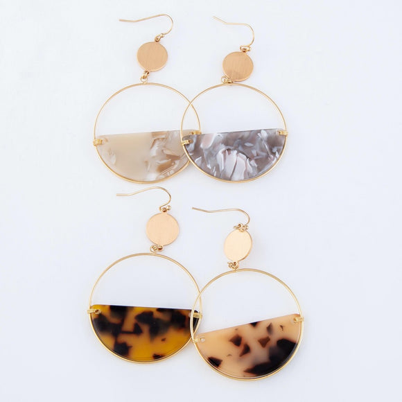 Acrylic Circle Gold | Earrings