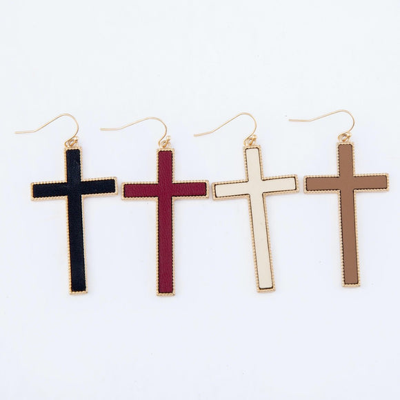 Leather Cross Earrings