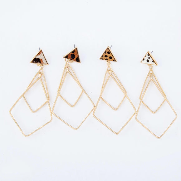 Triangle Leather | Statement Earrings
