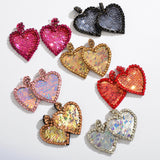 Sequin Heart Earrings