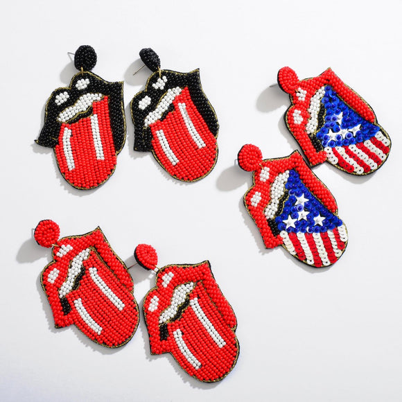 USA Beaded Lips Earrings