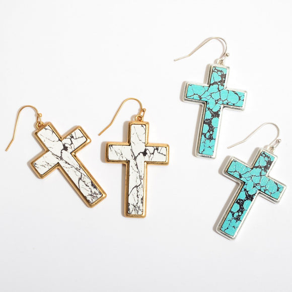 Cross | Wooden Stone Earrings