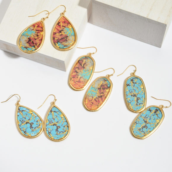 Natural Stone Glass Drop Earrings