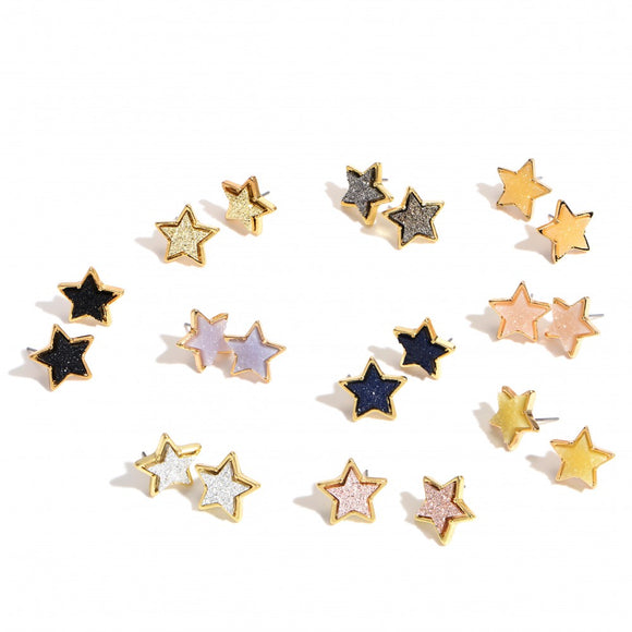 Star Druzy Stud Earrings