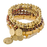 Boho Coin Stackable Beaded Bracelets | 5 colors