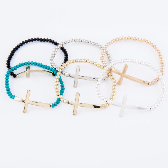 Cross Beaded Stretch Bracelets