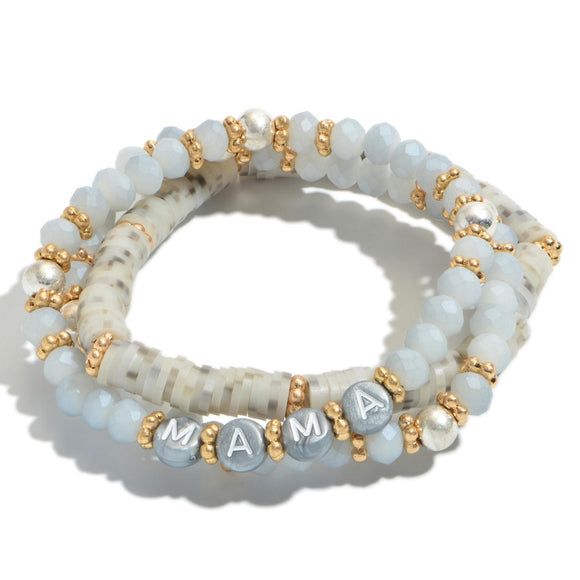 Mama |3 pc Stack Heishi | Beaded Bracelet