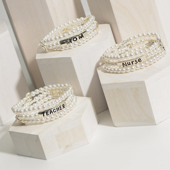 Pearl Bracelet Set | Mom, Teacher, Nurse