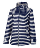New Englander Rain Jacket with Print Lining - Navy Stripe