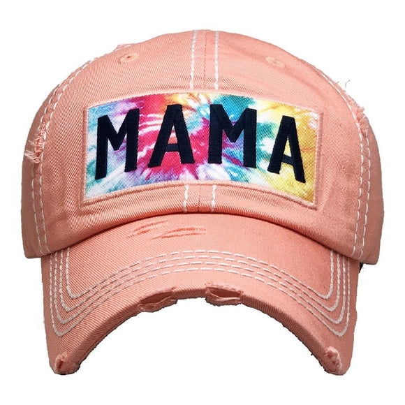Mama Tie Dye | Distressed Hat | Coral