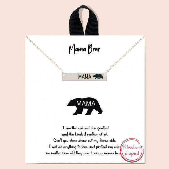 Mama Bear Necklace | Silver