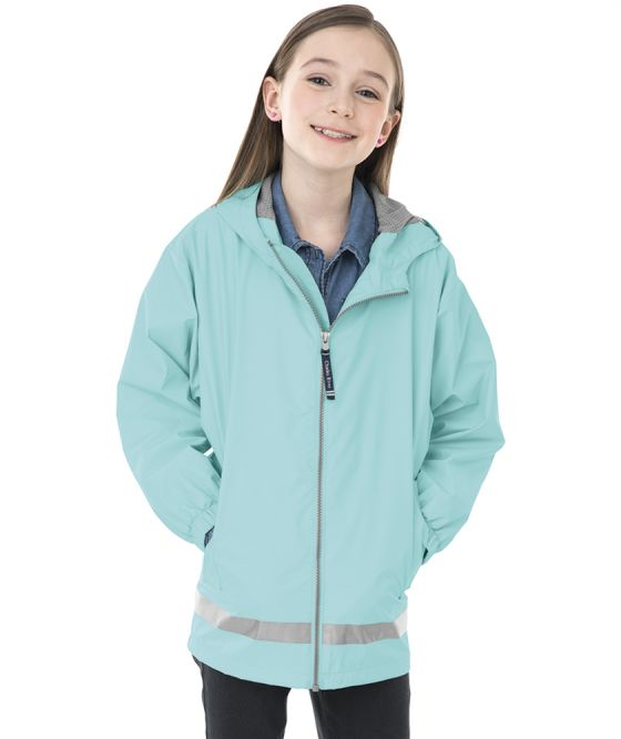 Youth New Englander Rain Jacket - Aqua