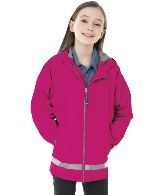 Youth New Englander Rain Jacket - Hot Pink