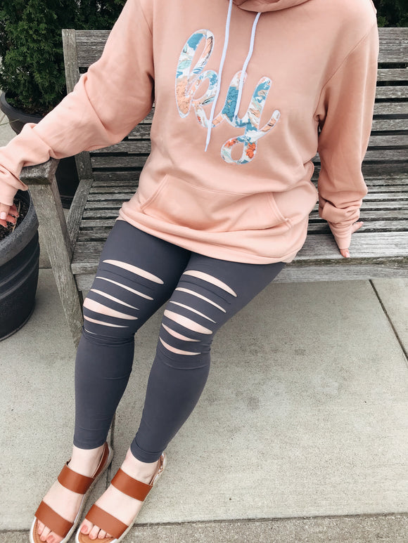 Grey Distressed Leggings