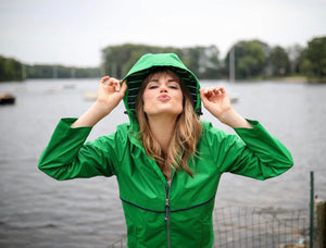 New Englander Rain Jacket with Print Lining - Kelly Green