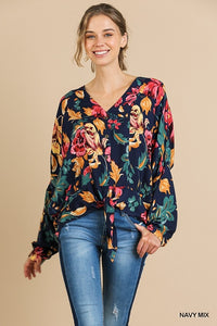 Navy Clay Floral Top | Long Sleeve