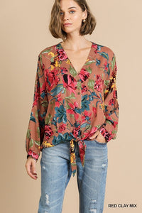 Red Clay Floral Top | Long Sleeve