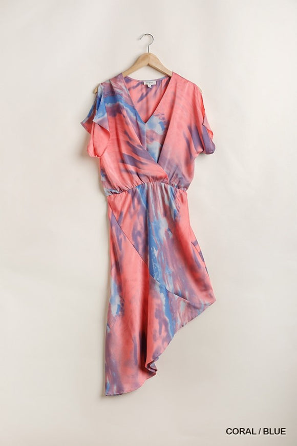 Nava Coral Tie Dye Dress