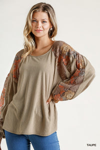 Floral Puff Sleeve Top | Taupe