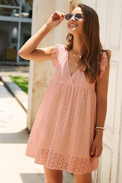 Peachy Babydoll | Eyelet Lace Dress