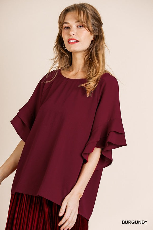 Amy Ruffle Top Maroon