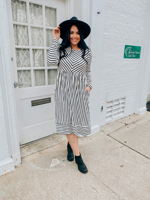 Indie Ivory Striped | Midi Dress