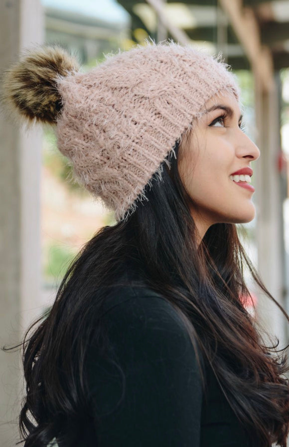 Mohair Knit | Pom Beanie | Pink