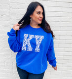 Royal Blue Cheetah State Sweatshirt | Handmade