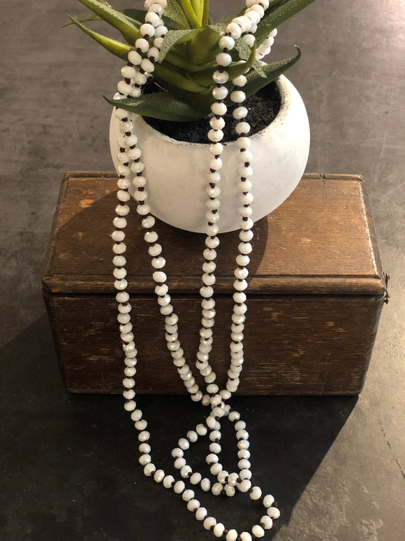 Beaded Necklace White