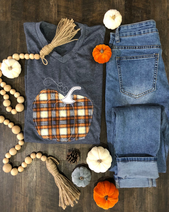 Plaid Pumpkin| Vneck