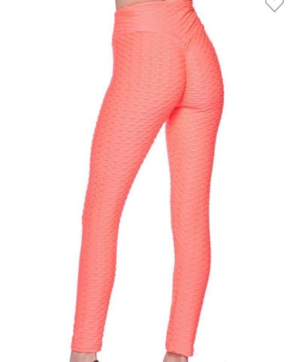 Bubble Textured | Leggings | Coral