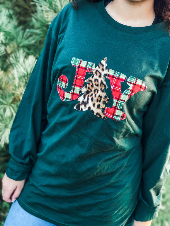 JOY Christmas Plaid| Long Sleeve Tee