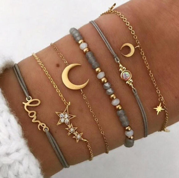Grey Moon Star Bracelet | 7 pack