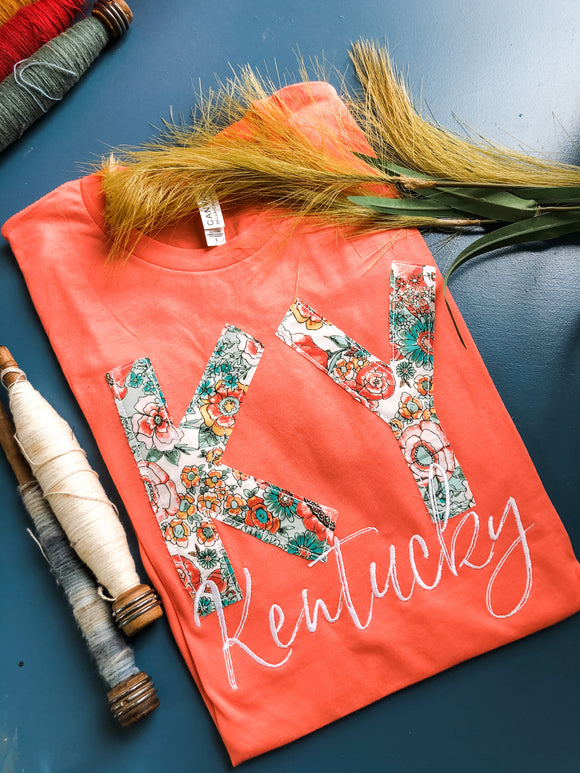 Wild in Bloom State Tee | Coral