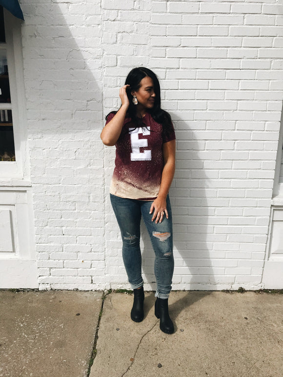 "Distressed Game Day Tee ""E"""