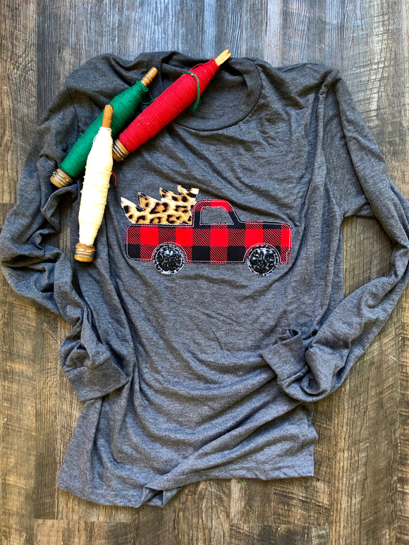Buffalo Christmas Truck | Long Sleeve | Charcoal