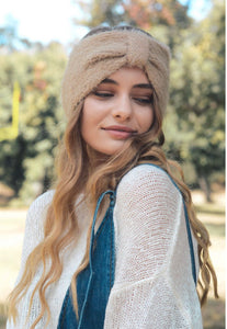 Mohair Bow Headband | Ear Warmer | Khaki