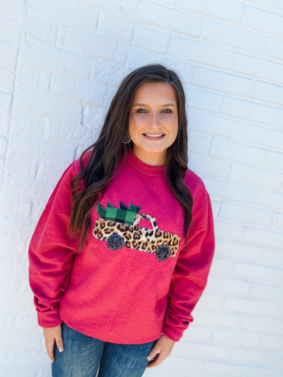 Christmas Truck | Sweatshirt | Heather Red