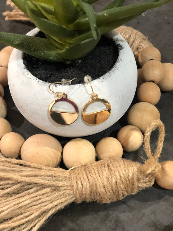 Circle Gold Hook Earrings
