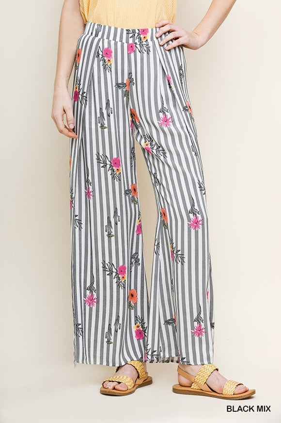 Floral Striped Pants
