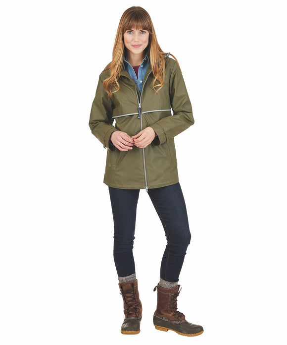 New Englander Rain Jacket with Print Lining - Olive