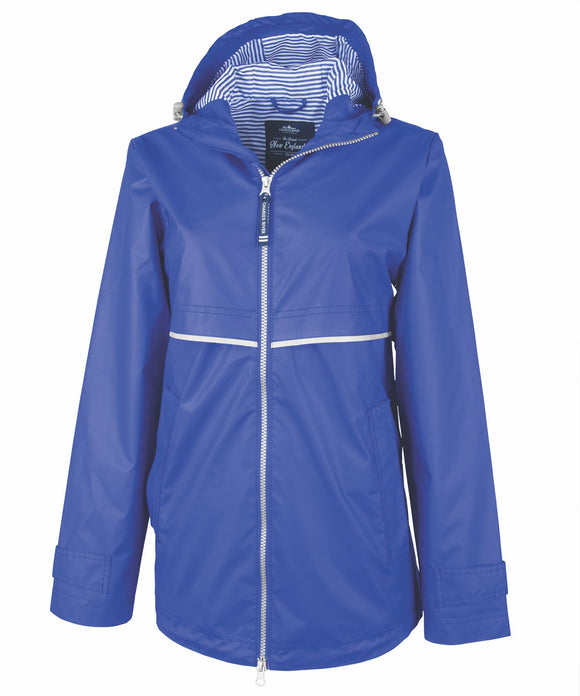 New Englander Rain Jacket with Print Lining - Royal