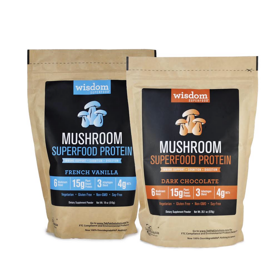 Mushroom Superfood Protein Bundle - Dark Chocolate and French Vanilla