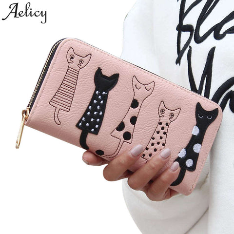 Aelicy Luxury High Quality Women Cat Cartoon Wallet Creative Female Card Holder Casual Zip Ladies Clutch PU Leather Coin Purse