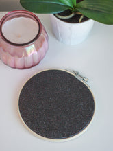 Load image into Gallery viewer, Black Glitter Pin Display Hoop