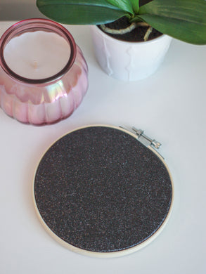 Black Glitter Pin Display Hoop