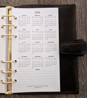 Personal 2020 Week-on-Two-Pages calendar planner refill