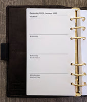 vanilla folders - Personal 2020 week-on-two-pages planner refill