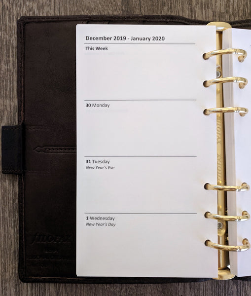 Personal 2020 week-on-two-pages calendar refill - vf planner pages