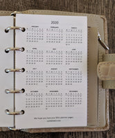 Mini 2020 Two-Days-on-a-Page planner calendar refill (Filofax Mini size)